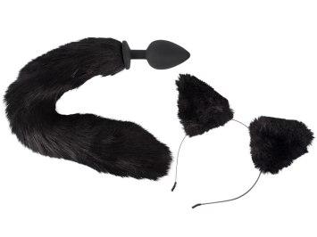 Pet Play Kit - anální kolík s ocasem a čelenka s ušima (Bad Kitty)
