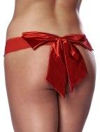 Erotické kalhotky, tanga: Červená tanga s velkou mašlí (Rimba)