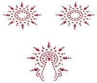Krásné ozdoby na bradavky: Samolepicí ozdoby na bradavky a vaginu Petits Joujoux Gloria (červené)