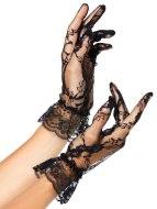 Sexy rukavice a návleky na ruce: Krátké krajkové rukavice s volánkem (Leg Avenue)