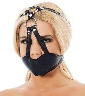 Roubíky a rozevírače úst: Kožená maska na ústa - náhubek (Rimba)