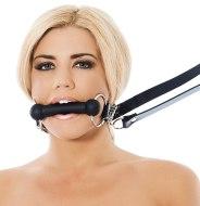 Roubíky a rozevírače úst: Kousací silikonový roubík s koženou opratí (Rimba)