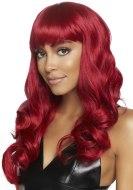 Sexy paruky pro ženy i muže: Paruka s ofinou Misfit - červená, dlouhá, vlnitá (Leg Avenue)