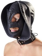 Vzrušující masky na hlavu: Dvojitá maska se zipem a šněrováním (Fetish Collection)