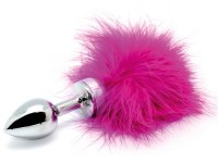 Anální kolíky s ocáskem: Malý nerezový anální kolík s ocáskem z peří, růžový (Rimba)