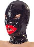 Dámské latexové oblečení: Latexová maska se zipem a červenými rty LateX (unisex)