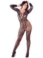 Síťované erotické prádlo: Síťovaný catsuit s krajkou a otevřeným rozkrokem