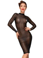 Sexy dámské šaty a minišaty: Průsvitné šaty s proužky a dlouhými rukávy NOIR