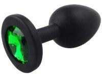 Anální kolíky s krystalem: Silikonový anální kolík se šperkem (tmavě zelený)