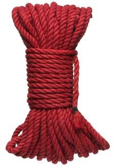 Konopné lano na bondage KINK Hogtied Bind & Tie 50 ft, 15 m (červené)