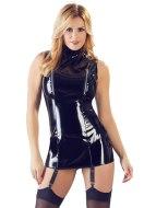 Lakované šaty a minišaty: Lakované minišaty se zipy na prsou a podvazky (Black Level)