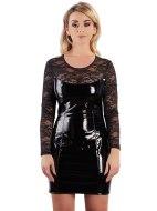 Lakované šaty a minišaty: Lakované minišaty s krajkou a dlouhými rukávy (Black Level)
