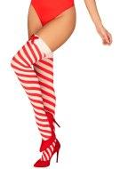 Vánoční oblečení a kostýmky: Vánoční samodržící punčochy Kissmas (Obsessive)