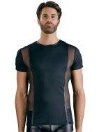 Pánská trička, tílka a topy: Pánské tričko s průsvitnými vsadkami a kovovými detaily (NEK)