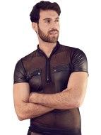 Pánská trička, tílka a topy: Lesklé pánské tričko se zipem, kapsami a průsvitnou vsadkou (NEK)