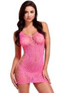 Sexy dámské šaty a minišaty: Růžové síťované minišaty s leopardím vzorem a srdíčky (Lapdance)
