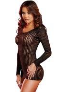 Sexy dámské šaty a minišaty: Černé síťované minišaty s dlouhými rukávy (Lapdance)