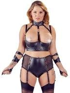 Erotické soupravy: Set prádla s polovičními košíčky, obojkem, podvazky a saténovými stuhami