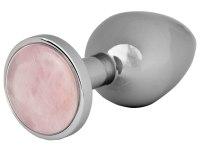Anální kolíky s krystalem: Kovový anální kolík s růženínem Rose Quartz Butt Plug