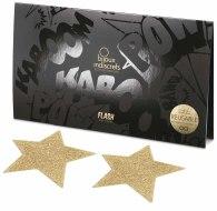 Vzrušující nálepky na bradavky: Třpytivé samolepky na bradavky Flash Star (zlaté)