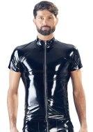 Pánská trička, tílka a topy: Lakované pánské tričko se zipem a stojáčkem (Black Level)