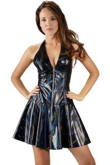 Duhové lakované minišaty se skládanou sukní (Black Level)