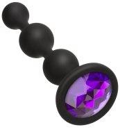 Anální kuličky, korále, řetězy: Silikonové anální kuličky s krystalem Booty Bling