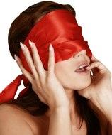 Masky, kukly a šátky na hlavu: Bondage saténový šátek, červený