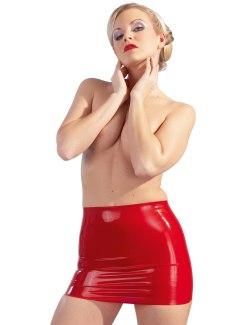Červená latexová minisukně