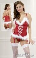 Dámské vánoční erotické prádlo: Vánoční korzet s kožíškem