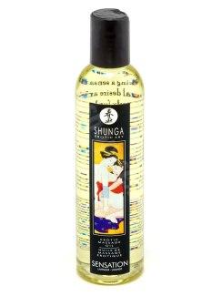 Shunga masážní olej Sensation s vůní levandule