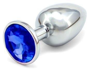 Kovový anální kolík s krystalem - tmavě modrý