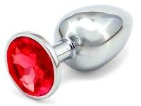 Anální kolíky s krystalem: Kovový anální kolík s krystalem - červený