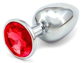 Kovový anální kolík s krystalem - červený