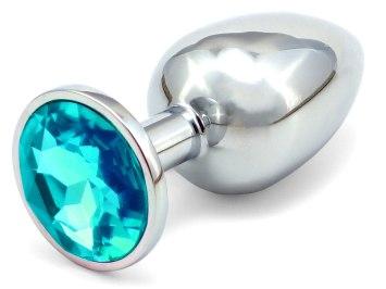 Kovový anální kolík s krystalem - světle modrý