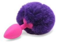 Anální kolíky s ocáskem: Anální kolík s králičím ocáskem (fialový)