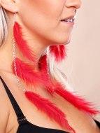 Vzrušující intimní šperky, ozdoby a bižuterie: Peříčkové náušnice (červené)