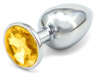 Anální kolíky s ozdobným krystalem: Kovový anální kolík s krystalem - zlatý