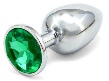 Kovový anální kolík s krystalem - tmavě zelený