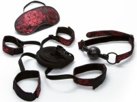 Bondage sady a postroje s pouty: Scandal Pouta na postel, roubík a maska na oči