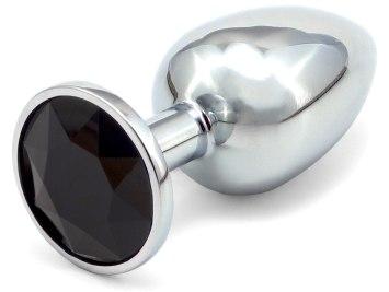 Kovový anální kolík s krystalem - černý