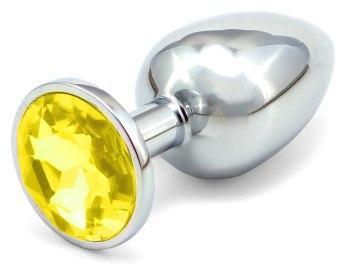 Kovový anální kolík s krystalem - žlutý