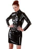 Dámské lakované prádlo (lack, vinyl): Lakované šaty s dlouhými rukávy a páskem