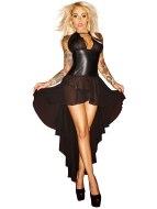 Sexy dámské šaty a minišaty: Korzetové šaty s dlouhou asymetrickou sukní NOIR