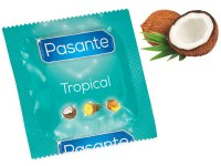 Kondomy s příchutí: Kondom Pasante Tropical Coconut, kokos