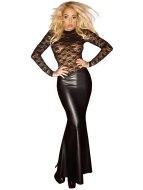 Sexy dámské šaty a minišaty: Dlouhé lesklé šaty s krajkovým topem