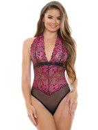 Sexy body: Průsvitné černo-růžové body Sherry s krajkovou výšivkou