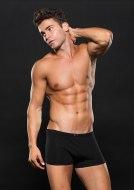 Pánské boxerky, jocksy, slipy a tanga: Černé boxerky s jemným čtverečkovaným vzorem