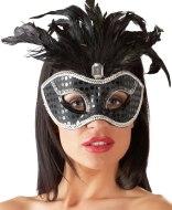 Škrabošky, čelenky a masky: Škraboška s ozdobným peřím a lesklým kamínkem