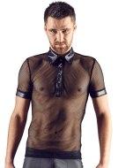 Pánská trička, tílka a topy: Síťované pánské tričko s límečkem a krátkými rukávy